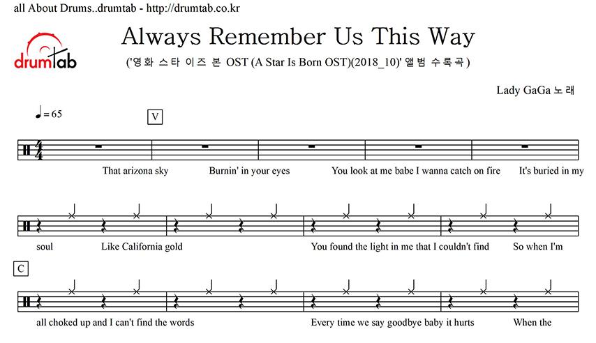 Lady Gaga I Ll Never Love Again Extended Version: 드럼악보 드럼탭